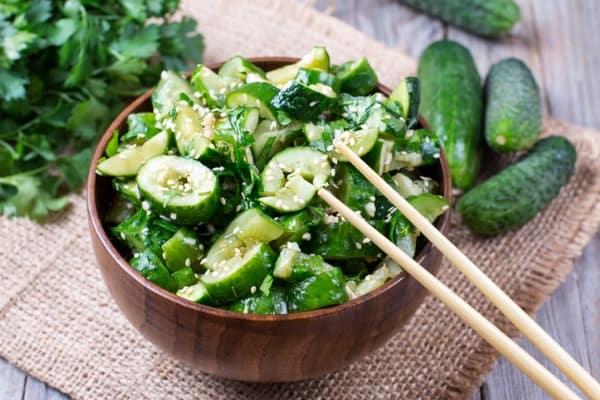 Lemon Pepper Smashed Cucumber Salad