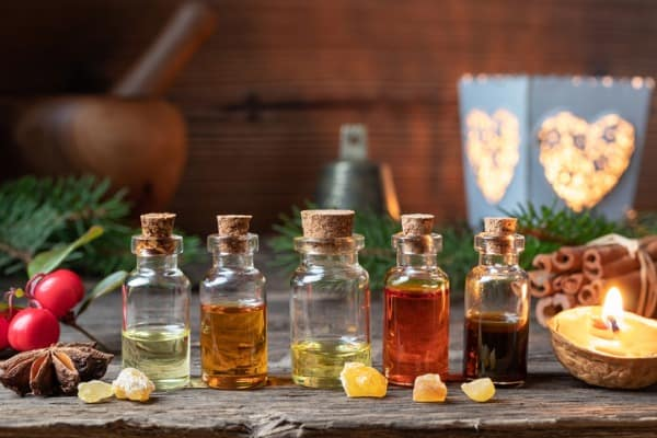 essential oils assortment on ray
