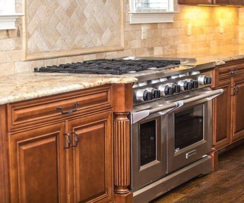 Clean countertop in kitchen