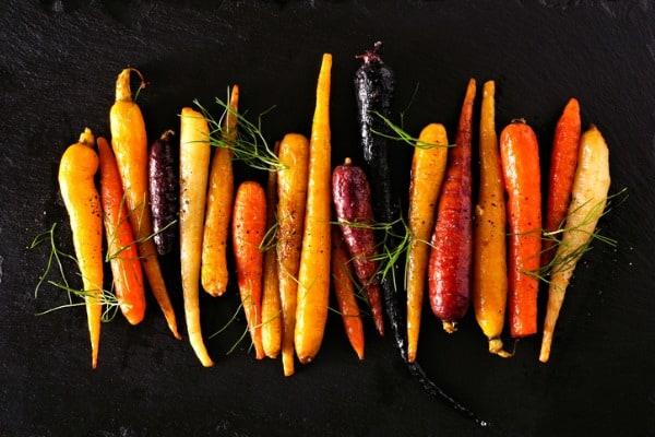 colorful roasted rainbow carrots