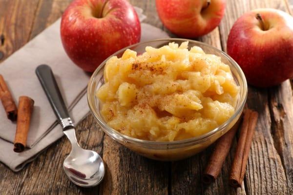homemade apple sauce in side bowl