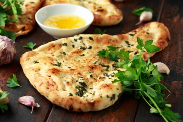 indian naan bread with garlic butter