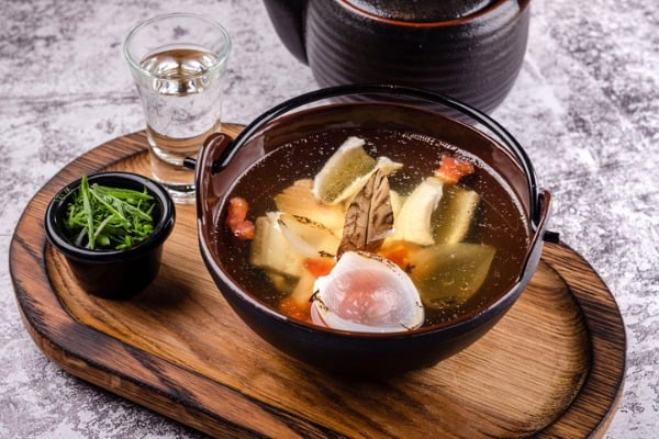 top view close up russian traditional fish soup in a bowl ukha served